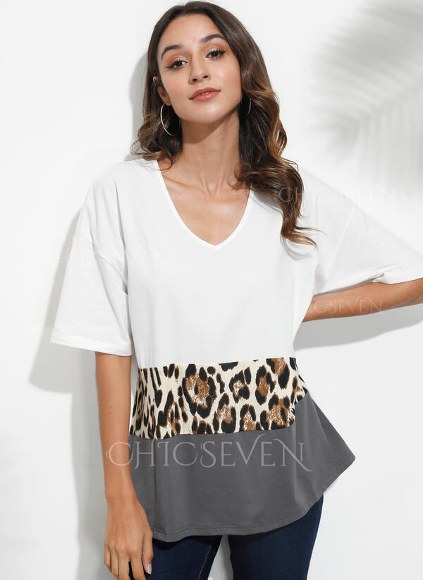 Color Block Leopard V-Neck 1/2 Sleeves Casual Blouses