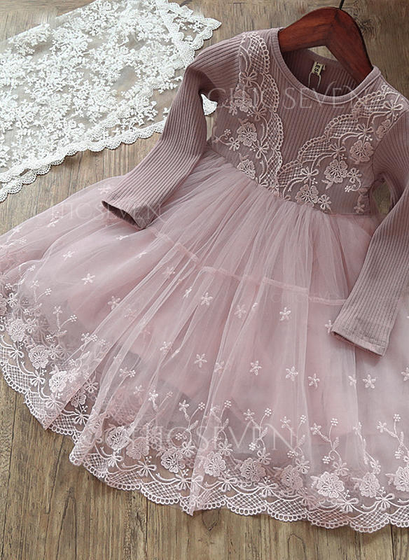 Girls Round Neck Solid Floral Lace Cute Dress