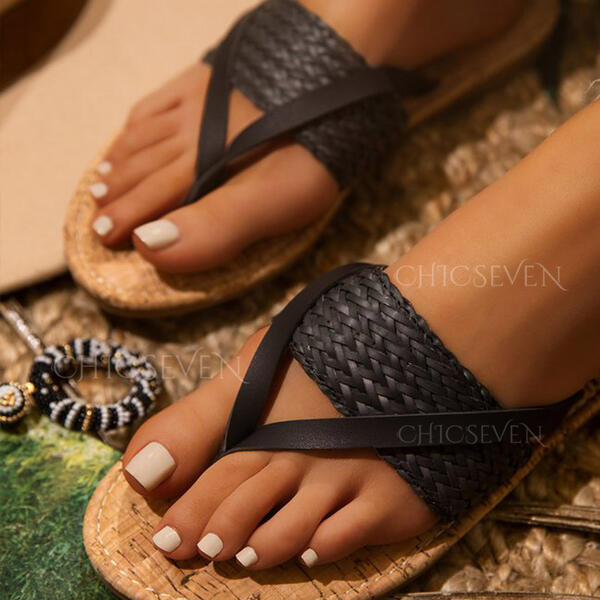 Women's PU Low Heel Sandals Flats Flip-Flops Slippers With Braided Strap Split Joint Solid Color shoes