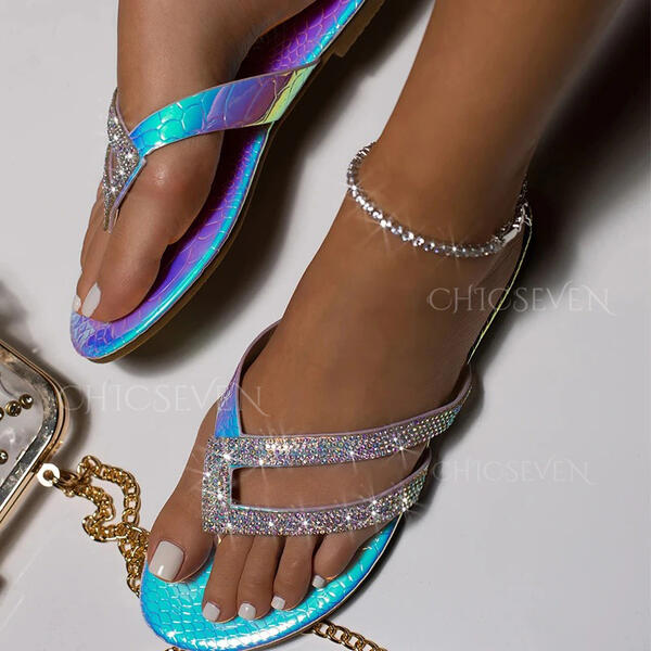 Women's PU Flat Heel Sandals Peep Toe Flip-Flops Slippers With Rhinestone shoes