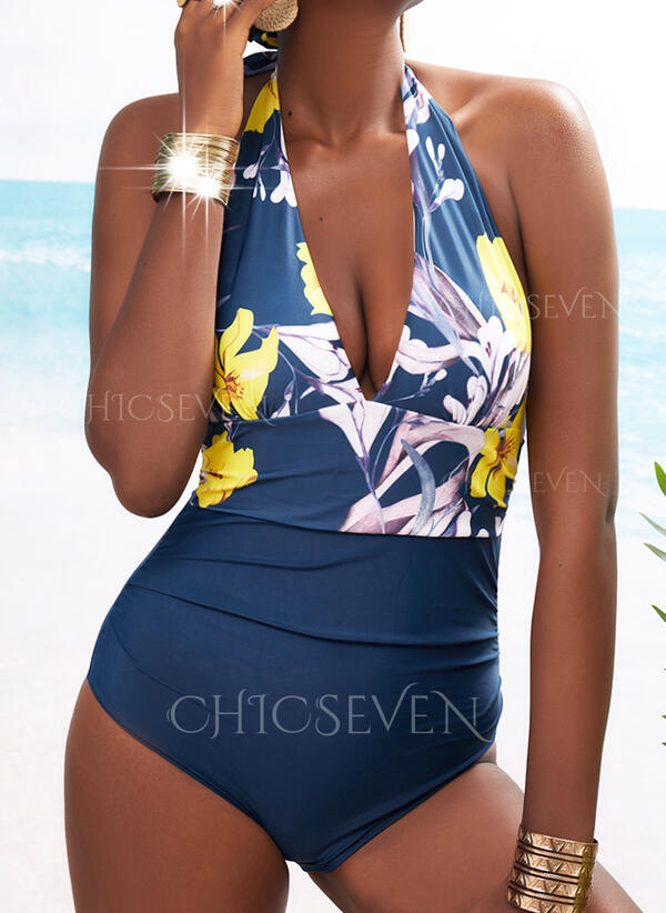 Print Floral Halter V-Neck Sexy Plus Size Casual One-piece Swimsuits