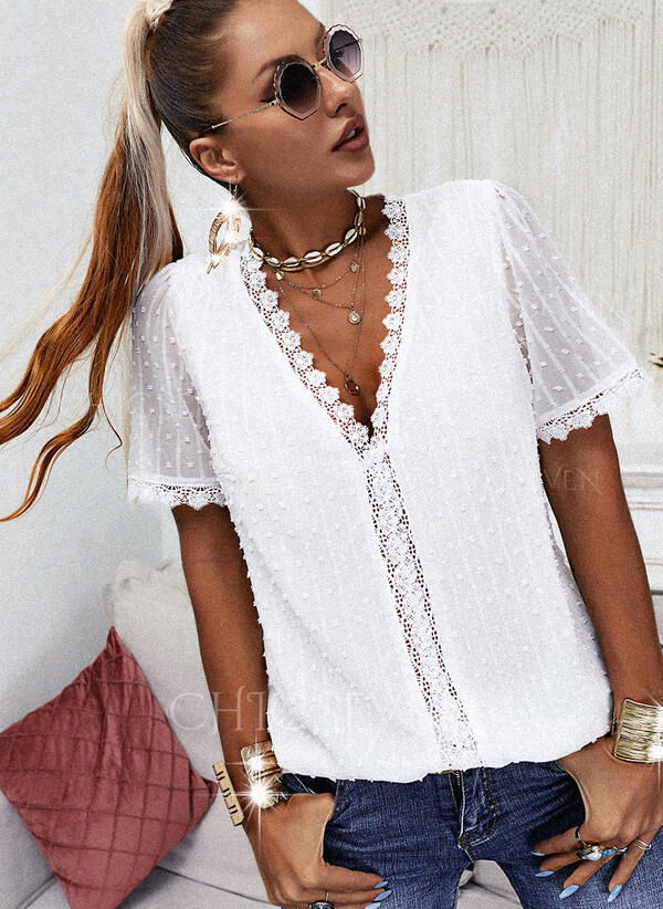 Solid Lace V-Neck Puff Sleeves Short Sleeves Casual Blouses