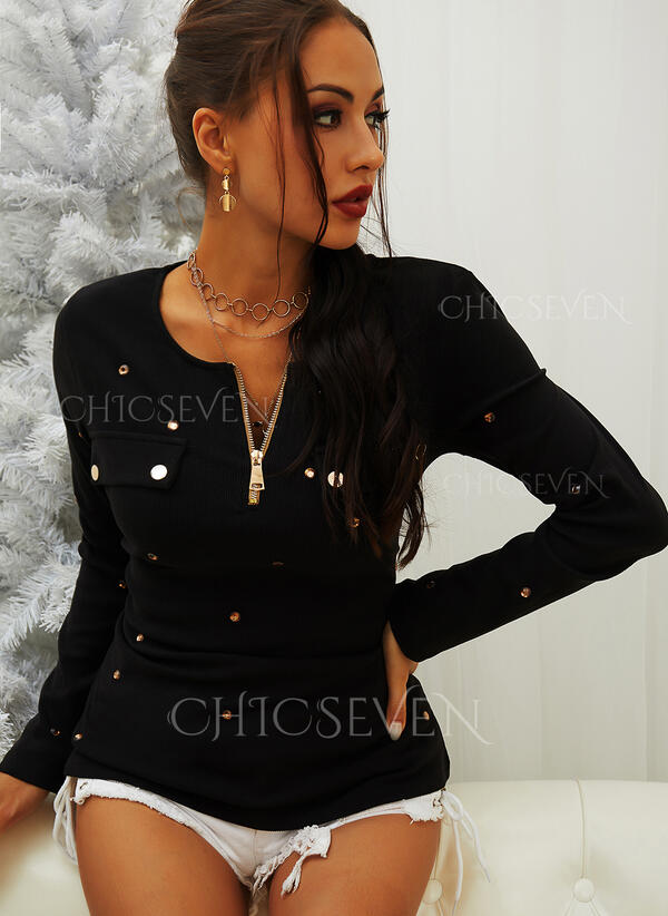 Solid Sequins Round Neck Long Sleeves Casual Knit Blouses