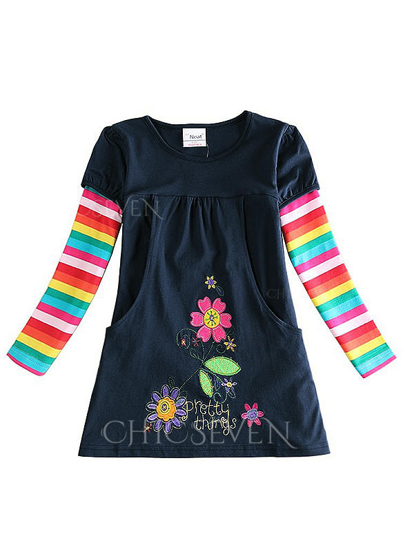 Girls Round Neck Floral Print Striped Casual Dress
