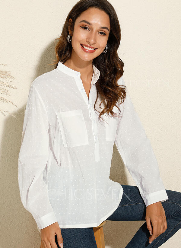 PolkaDot V-Neck Long Sleeves Casual Knit Shirt Blouses