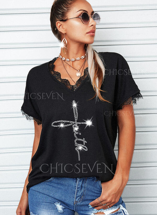 Lace Sequins Letter V-Neck Short Sleeves Casual Blouses