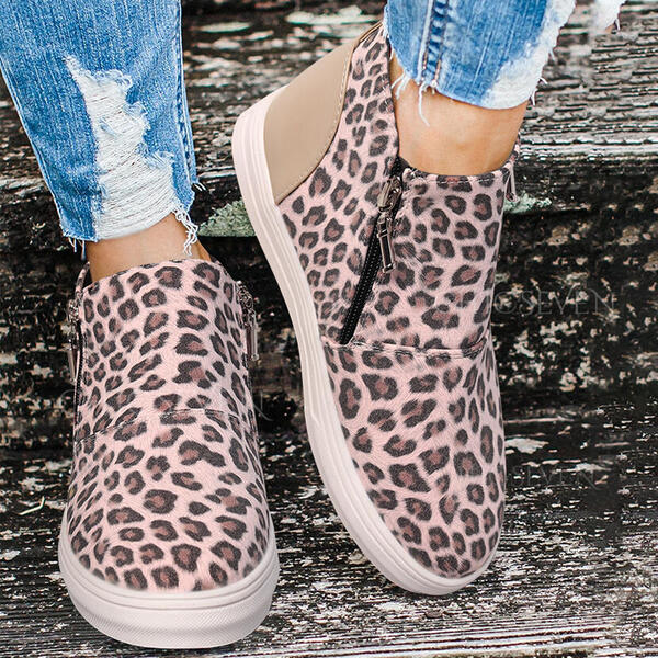 Women's PU Flat Heel Ankle Boots Round Toe Winter Boots With Animal Print Zipper shoes