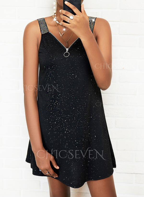 Print/Sequins Sleeveless Shift Above Knee Casual Dresses