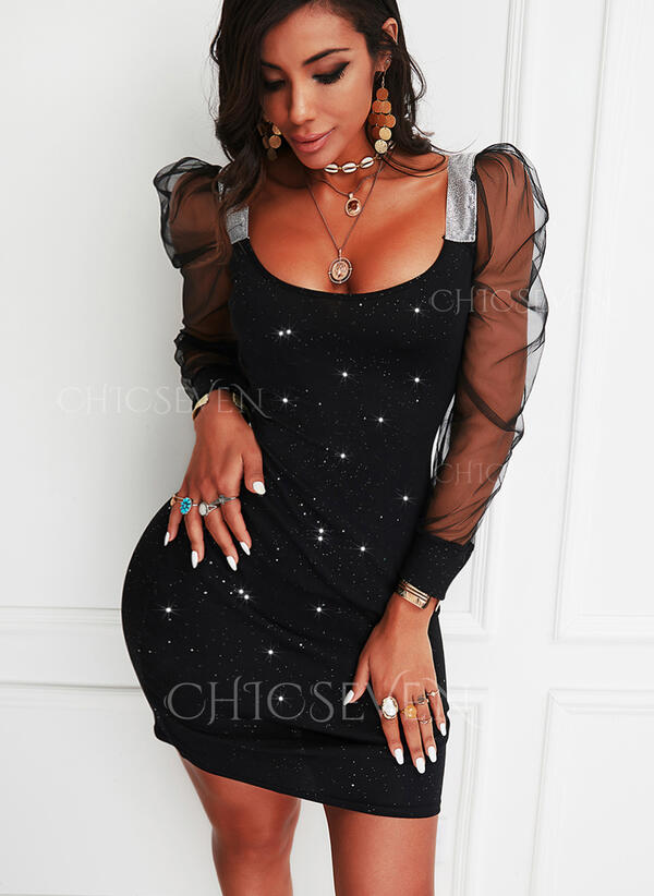 Sequins/Solid Long Sleeves/Puff Sleeves Bodycon Above Knee Little Black/Party Dresses