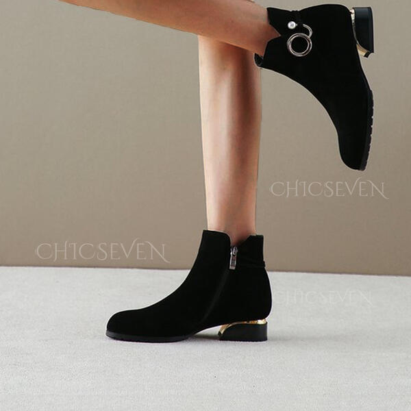 Women's PU Low Heel Chunky Heel Boots Ankle Boots With Elastic Band Solid Color shoes