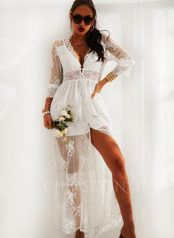 Lace/Solid 3/4 Sleeves A-line Skater Elegant Maxi Dresses