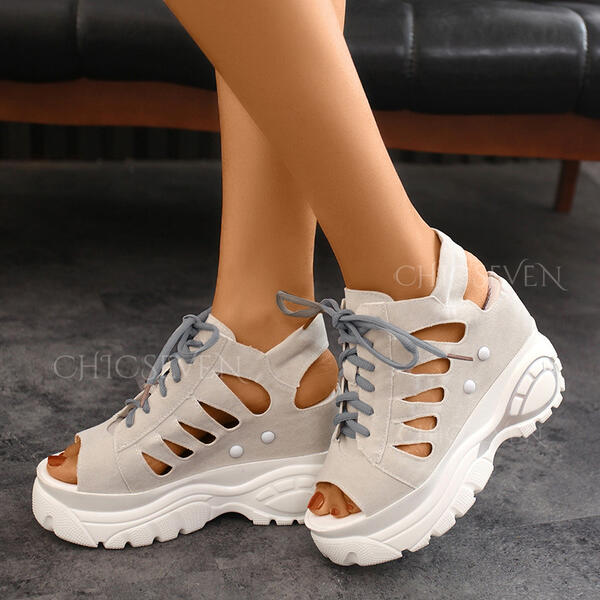 Women's Suede Wedge Heel Sandals Platform Wedges Peep Toe With Rivet Lace-up Hollow-out shoes