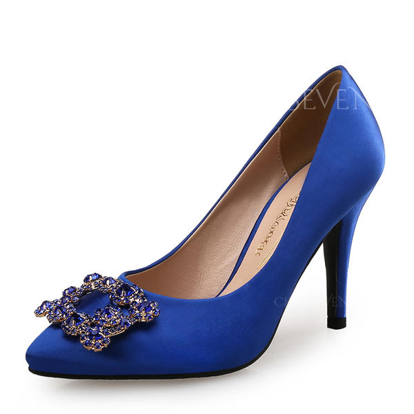 Women's Silk Like Satin Stiletto Heel Pumps With Crystal shoes