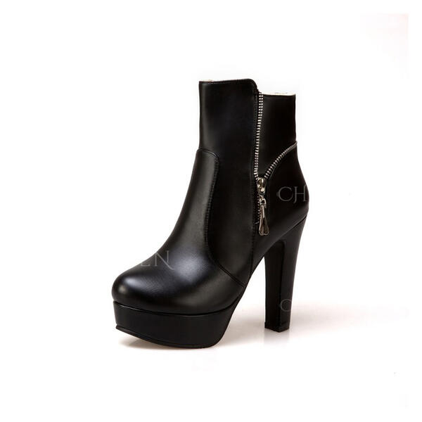 Women's Leatherette Ankle Boots Round Toe With Zipper shoes