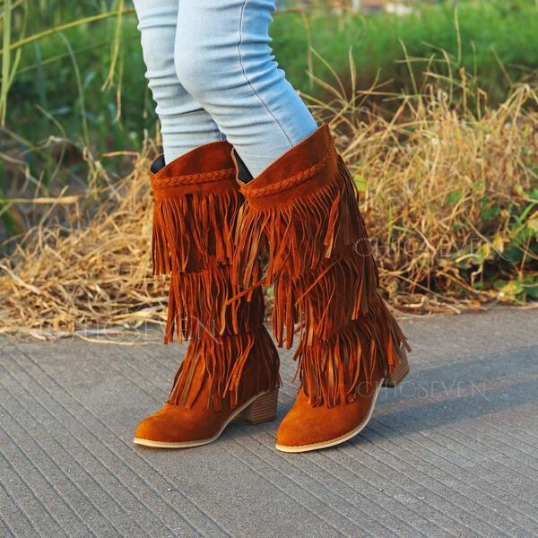 Women's Suede Chunky Heel Ankle Boots Round Toe With Tassel Solid Color shoes