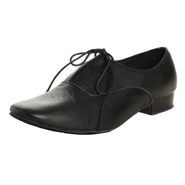 Men's Latin Ballroom Practice Real Leather With Lace-up Latin