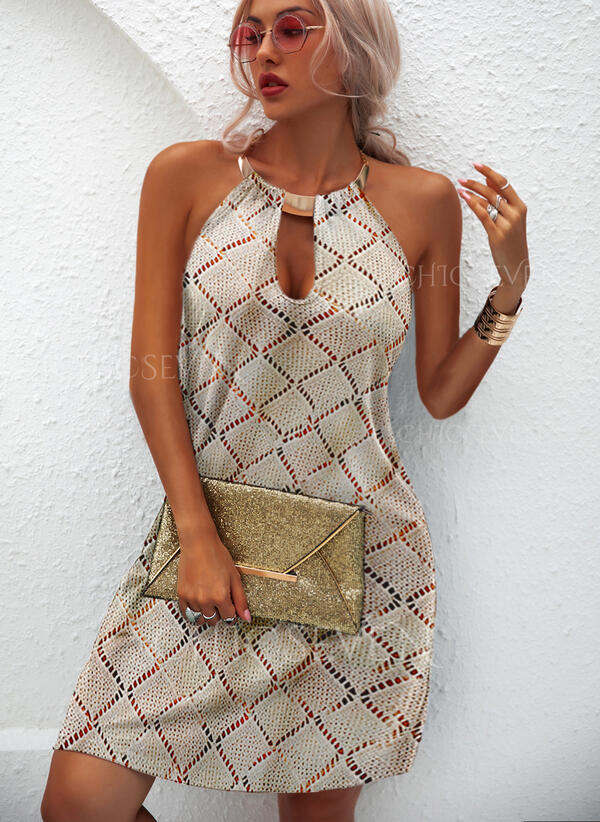 Solid Halter Casual Sweater Dress