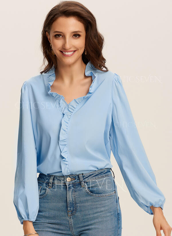 Solid V-Neck Puff Sleeves Long Sleeves Casual Blouses