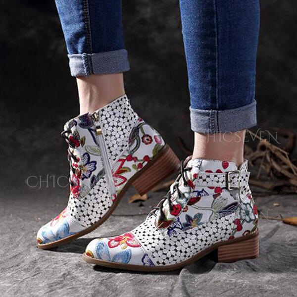 Women's PU Flat Heel Flats Closed Toe Boots Mid-Calf Boots With Buckle Zipper Lace-up shoes