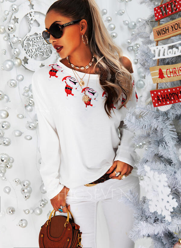 Print Sequins One-Shoulder Long Sleeves Casual Christmas Blouses