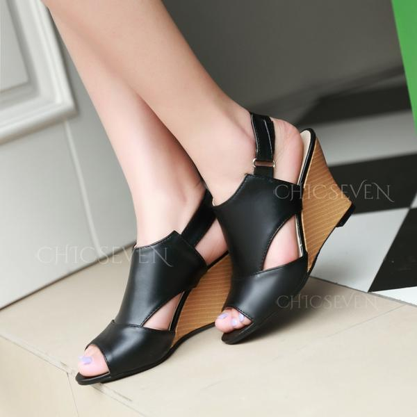 Women's Leatherette Wedge Heel Sandals Wedges Peep Toe Slingbacks With Hollow-out shoes