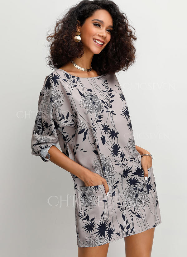 Print Round Neck 3/4 Sleeves Casual Elegant Blouses