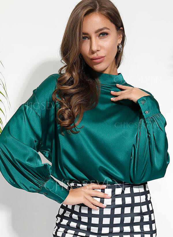 Solid Stand collar Long Sleeves Casual Blouses