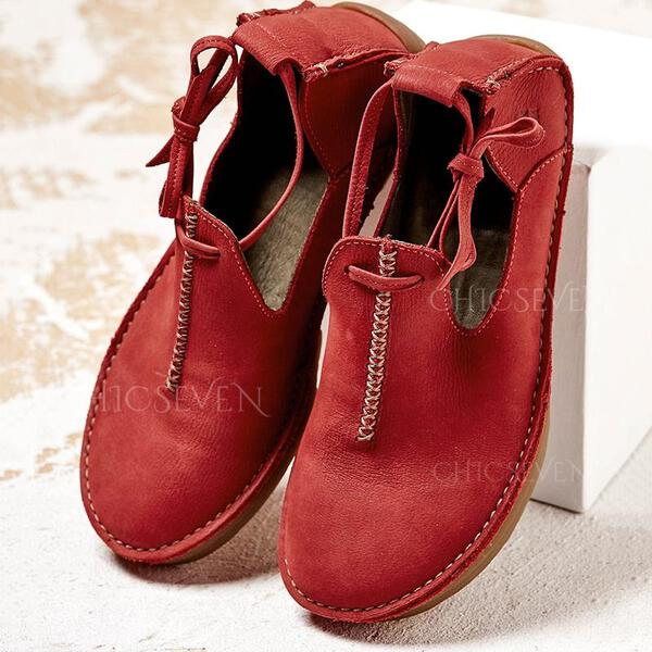 Women's PU Flat Heel Flats With Lace-up Solid Color shoes