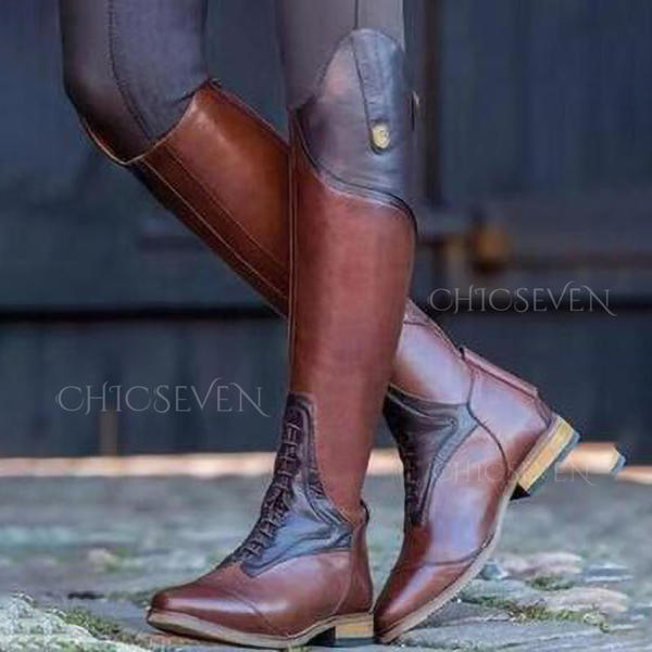 Women's Leatherette Low Heel Knee High Boots With Split Joint shoes