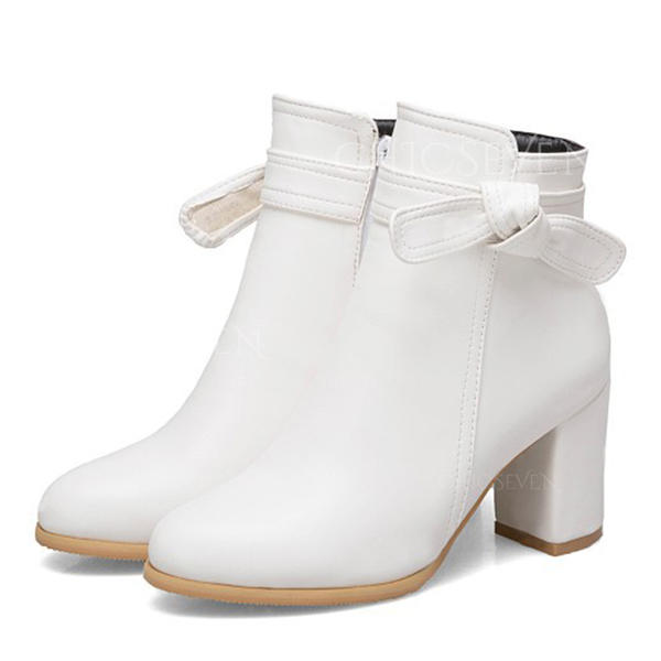 Women's Leatherette Wedge Heel Boots Closed Toe With Zipper