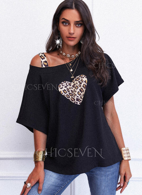 Leopard Heart One-Shoulder Short Sleeves Casual Knit Blouses