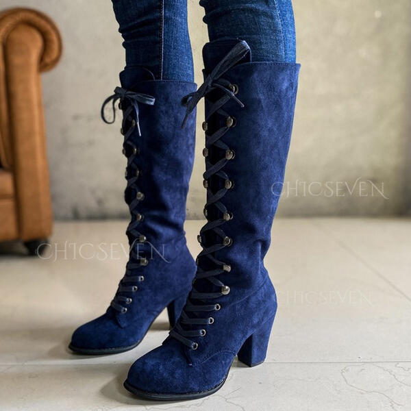 Women's Suede Chunky Heel Knee High Boots Round Toe With Lace-up Solid Color shoes