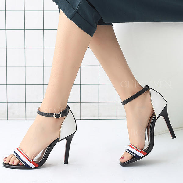 Women's Leatherette Stiletto Heel Sandals Pumps Peep Toe Mary Jane With Buckle shoes