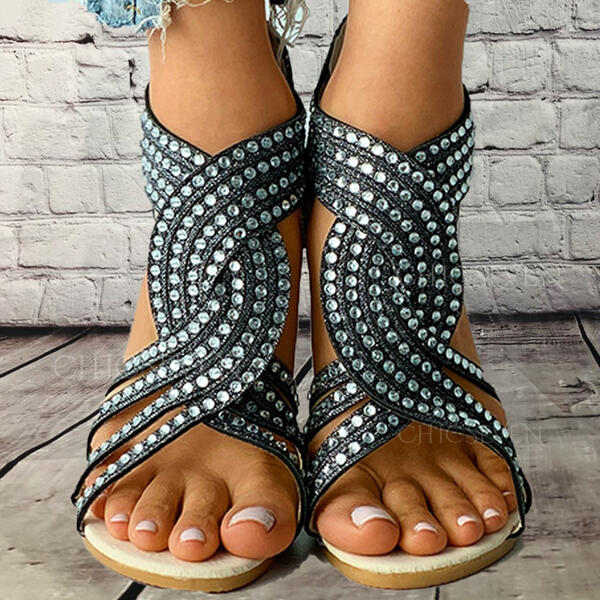 Women's PU Low Heel Sandals Flats Peep Toe With Rhinestone Zipper Hollow-out shoes