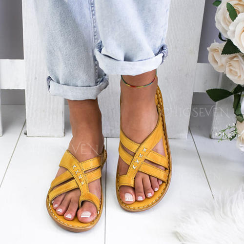 PU Flat Heel Sandals Flats With Braided Strap shoes