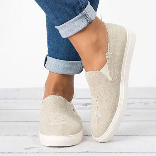 Women's Canvas Flat Heel Flats With Others shoes