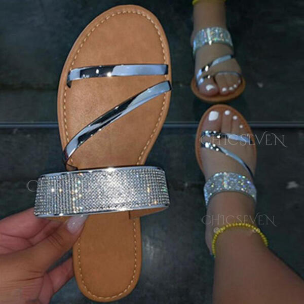 Women's Leatherette Flat Heel Sandals Flats Peep Toe Slippers With Rhinestone Solid Color shoes