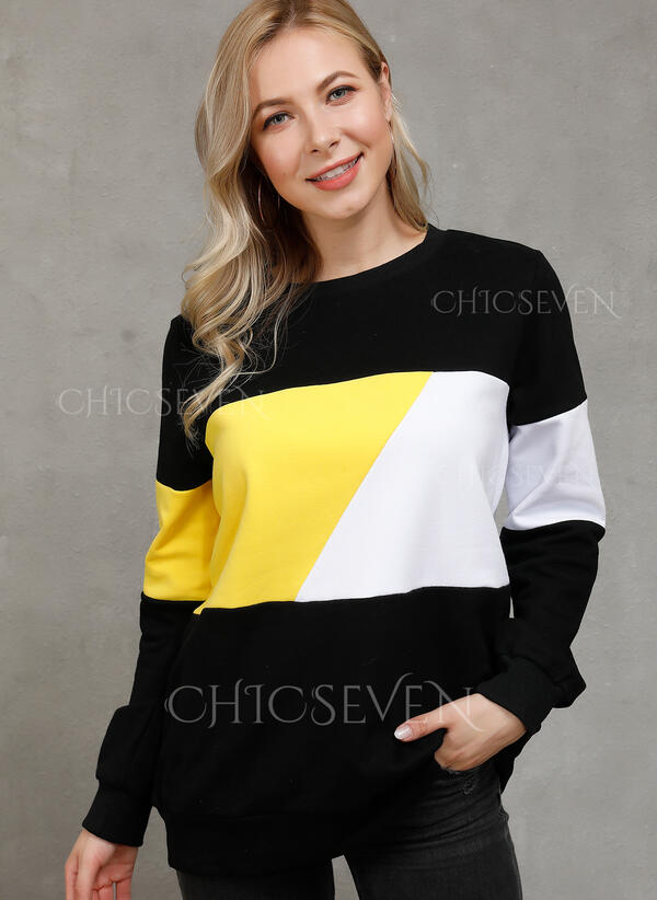 Color Block Patchwork Round Neck Long Sleeves Casual Knit T-shirts