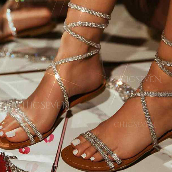 Women's PU Flat Heel Sandals Flats Peep Toe With Rhinestone Hollow-out shoes