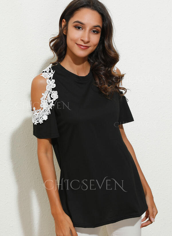 Lace Cold Shoulder Short Sleeves Casual Blouses