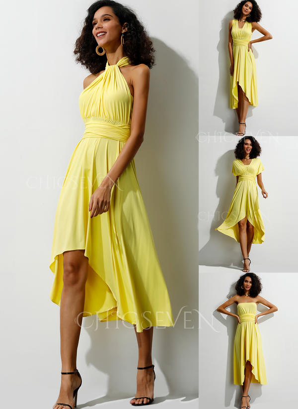 Solid Short Sleeves A-line Asymmetrical Casual/Party Dresses