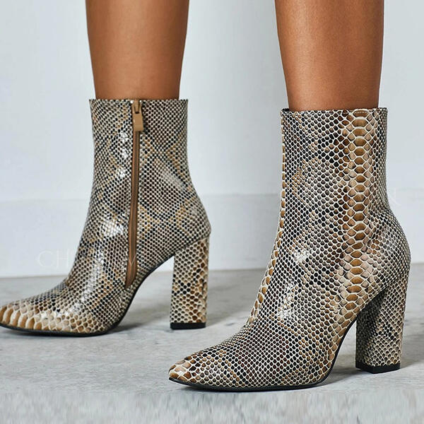 Women's Real Leather Chunky Heel Ankle Boots Pointed Toe With Buckle Animal Print Zipper shoes