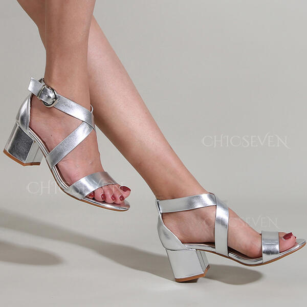 Women's PU Chunky Heel Sandals Pumps Peep Toe With Buckle Hollow-out Solid Color shoes