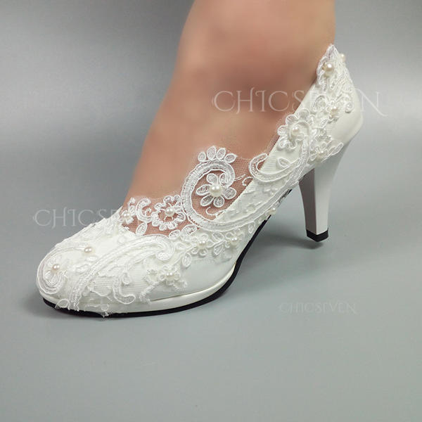 Leatherette Stiletto Heel Closed Toe With Stitching Lace