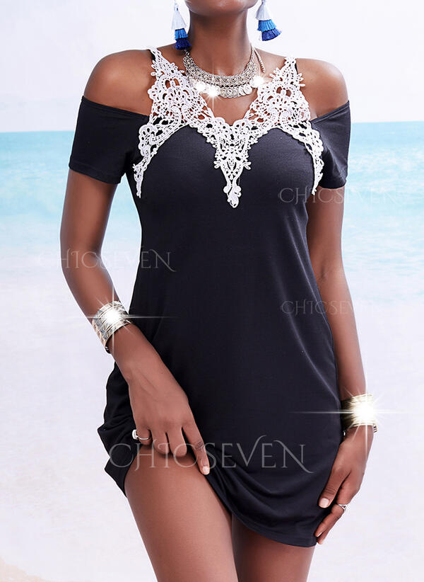 Lace Short Sleeves Sheath Above Knee Casual/Vacation Dresses