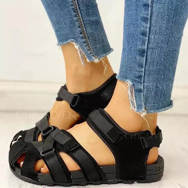 Women's Leatherette Flat Heel Sandals Flats Peep Toe With Hollow-out Velcro Solid Color shoes