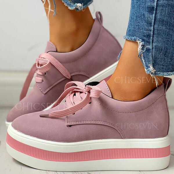 Women's Leatherette Flat Heel Flats Low Top With Lace-up Splice Color shoes