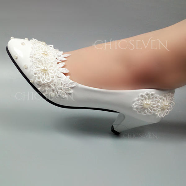 Women's Leatherette Stiletto Heel Closed Toe With Beading Stitching Lace
