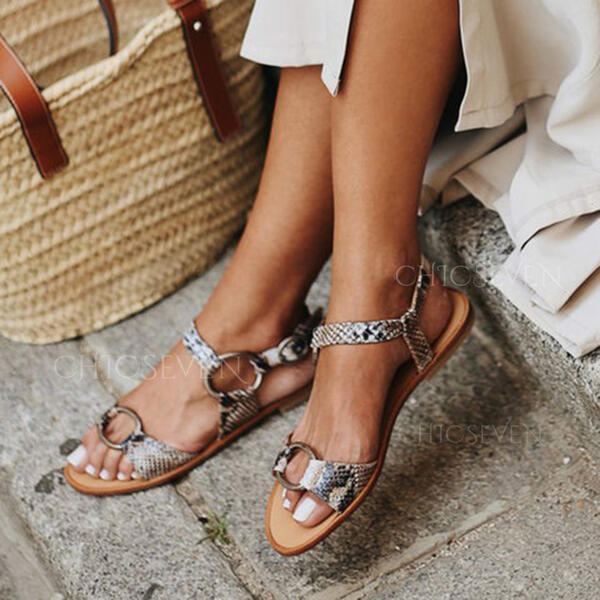Women's PU Flat Heel Sandals Peep Toe With Buckle Hollow-out shoes