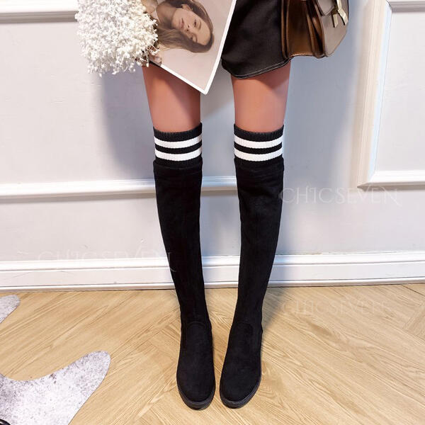 Women's Suede Chunky Heel Boots Over The Knee Boots Snow Boots Winter Boots With Animal Print Elastic Band Colorblock Solid Color shoes
